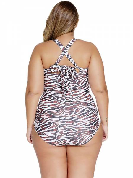 Versatility Leopard Printed Ruched Retro Inspired Plus Size One Piece Swimsuit