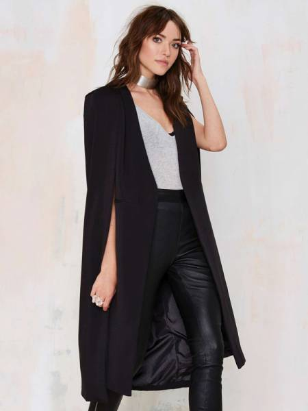 Fashion Cloak Style Open Front Lined Long Women Trench Coat for Autumn