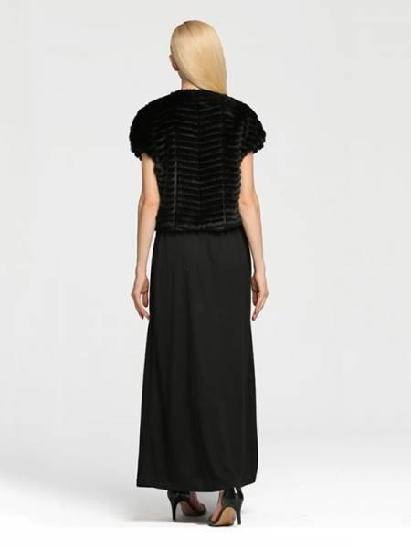 Stylish Short Sleeves Hidden Hook Closure Cropped Faux Fur Vests Women