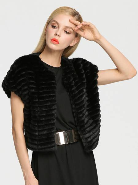Stylish Short Sleeves Hidden Hook Closure Cropped Faux Fur Vests Women