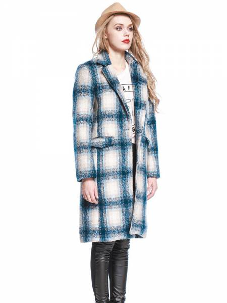 Vintage Plaid Single Button Knee-length Long Sleeves Wool Coat for Women
