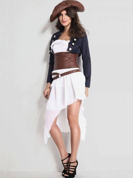 Vilanya Female 4 Pieces Long Sleeve Colonial Pirate Easy Adult Halloween Costume