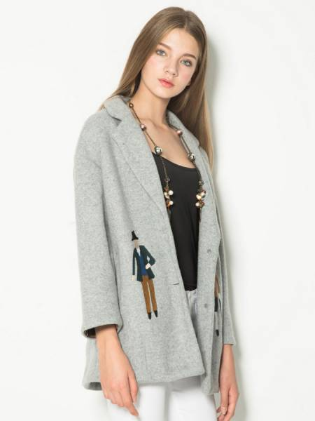 Two Buttons Single Breasted Closure Cartoon Embroidery Wool Coat Women
