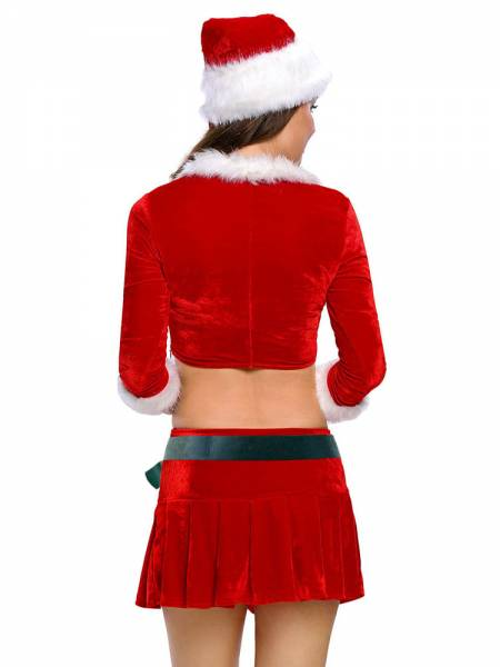 Four Pieces Three-quarter Sleeves Crop Top & Sexy Skirt Xmas Costume Set