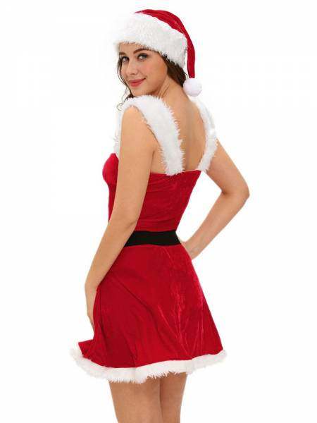 Three Pieces Sleeveless Christmas Fluffy Velvet Mini Costume Dress Sale