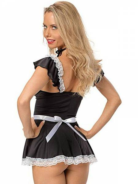 2 Pieces Black White Cap Sleeves Naughty & Sexy Flirting French Maid Costume Dress