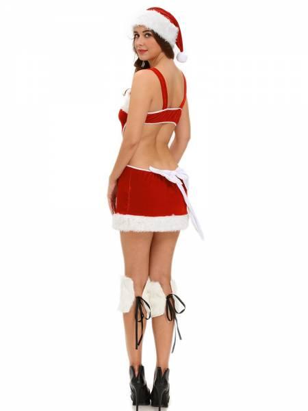 3 Pieces Cutout Back Faux Fur Trim Santa Claus Outfit for Women