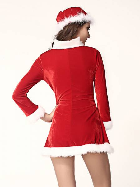 3 Pieces Long Sleeves Sleigh Belle Women Santa Helper Costume Dress