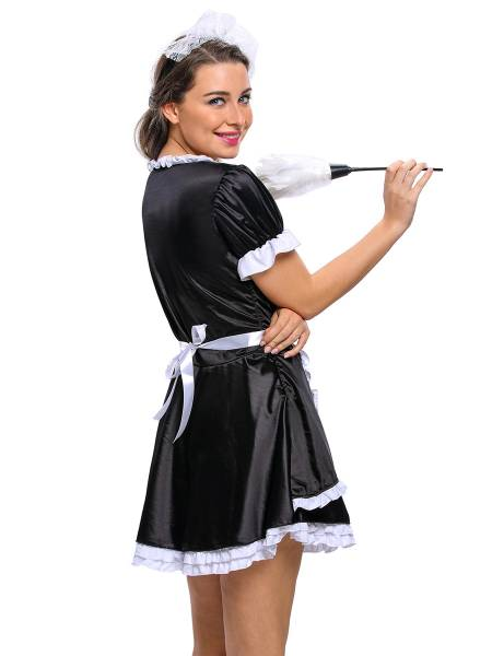 3 Pieces Short Sleeves Layered Sexy Flirty Maid Costumes for Women