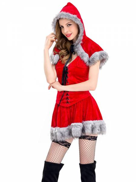 3 Pieces Sleeveless Red Riding Hood Fuzzy Womens Christmas Costumes