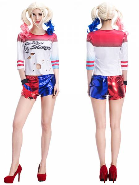 7 PCS Cheap Adult Hot & Sexy Harley Quinn Full Halloween Cosplay Costume Set for Women