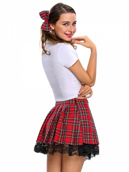 Adult Three Pieces Short Sleeves Temptress School Girl Fancy Dress Costmes
