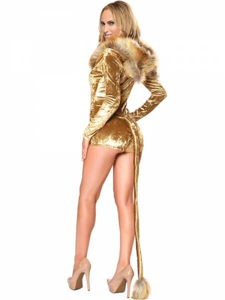 Bright Golden Deluxe Fluffy Faux Fur Hooded Womens Sexy Lion Costume Bodysuit