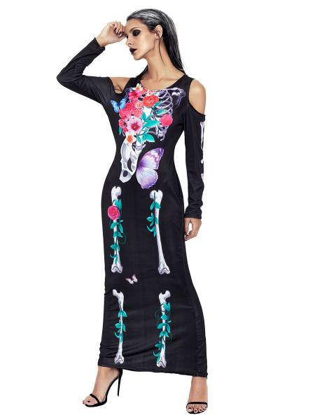 Cold Shoulder Long Sleeves Halloween Maxi Skeleton Costume Bones Dress