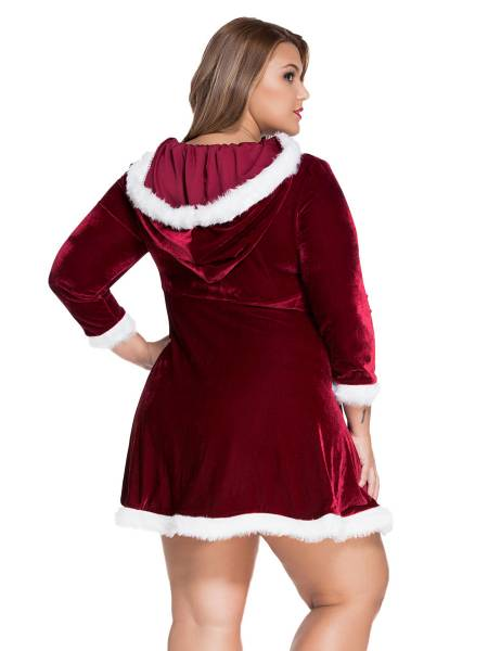 Long Sleeves Hooded Plus Size Christmas Costume A-line Dress for Women