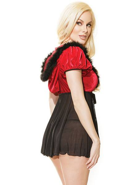 Short Sleeves Hooded Laceup Front Mesh Splice Sexy Santa Babydoll