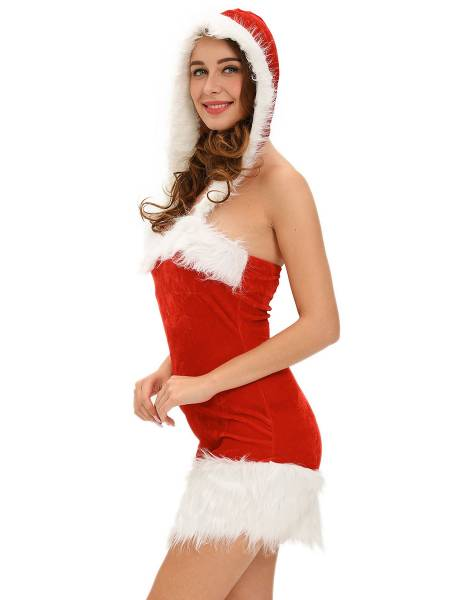Sleeveless Fluffy Hooded Novelty Christmas Costume Dress for Women
