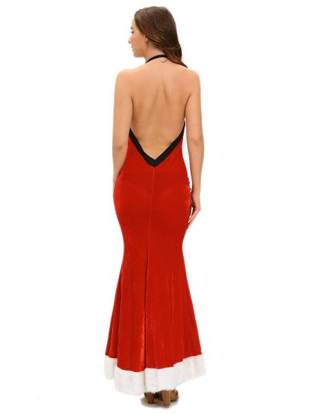 Sleeveless Halter Backless Sexy Christmas Maxi Dresses for Women