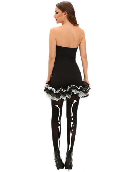 Strapless Skeleton Printed Lace Hem Halloween Costumes Tutu Mini Dress