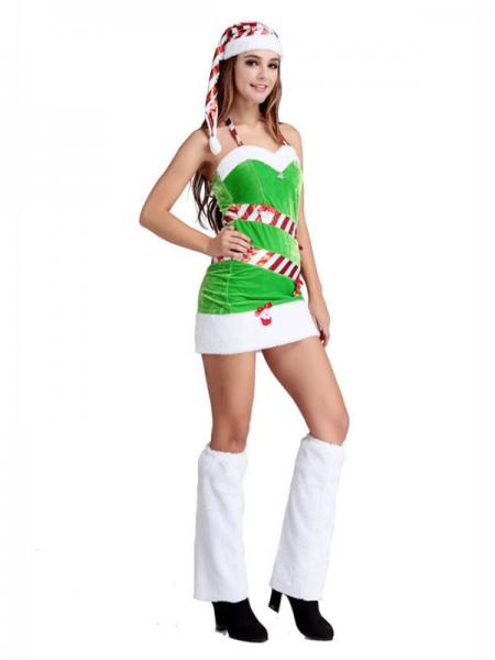 3 Pieces Halter Neckline Ladies Santa Claus Christmas Trees Outfit