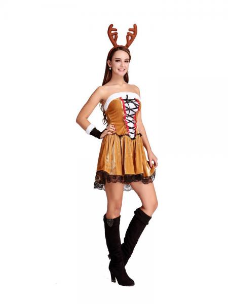 3 Pieces Strapless Lovely Reindeer Christmas Costume for Women