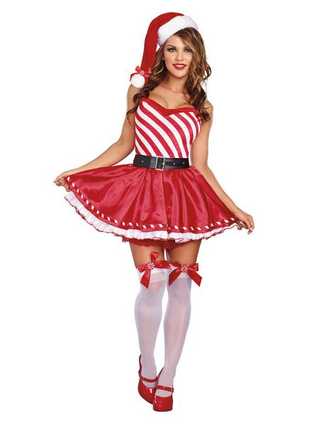 4 Pieces Short Sleeves Layered Cute Mrs Claus Christmas Tutu Dress