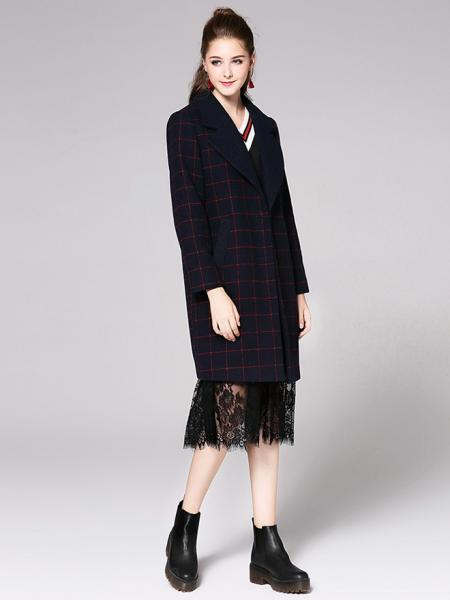 Plaided Single Breasted Long Sleeves Women Wool Coat with Insert Pockets