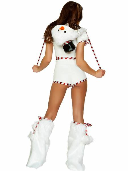 Short Sleeves Hooded Stripe Printing Cute Snowman Costume for Women