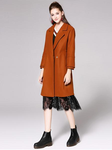 Single Button Layered Long Flare Sleeves Thick Womens Long Wool Coats