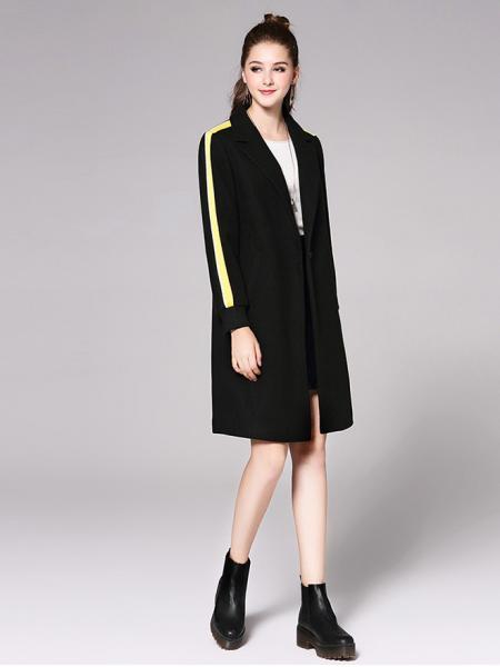 Single Button Striped Long Sleeve Rib-knit Cuffs Womens Long Wool Coat