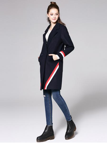 fb8728259b2d ... Two Buttons Double Breasted Long Sleeve Womens Striped Long Wool Coats  ...