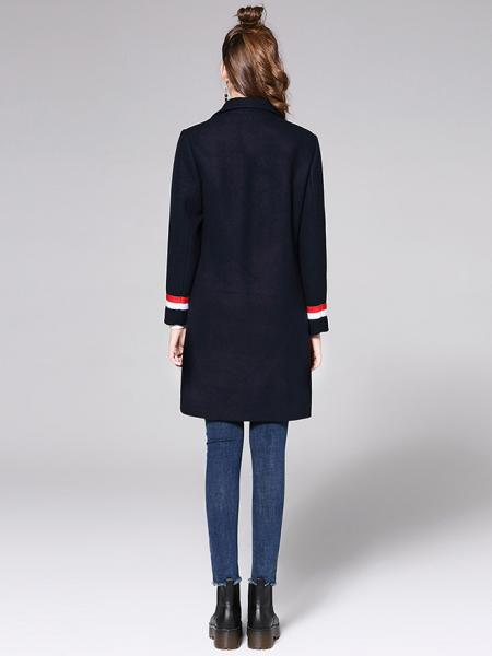 54d22fb0434d ... Two Buttons Double Breasted Long Sleeve Womens Striped Long Wool Coats  Navy  Red White ...