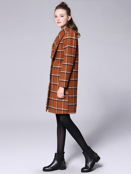 Big Lapels Single Breasted Long Sleeves Plaided Thick Women Wool Coat