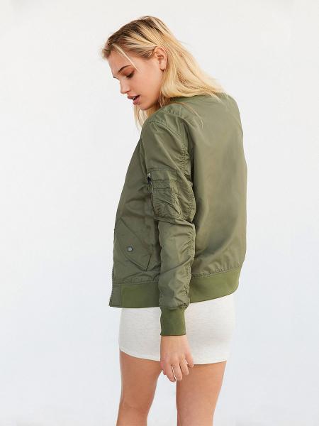 Brief Rib-knit Zipper Long Sleeves Appliqued Spring Bomber Jacket Womens