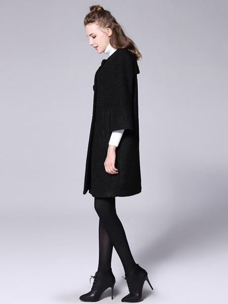 Loose-fit Double Breasted Three-quarters Sleeves Thick Long Peacoat for Women