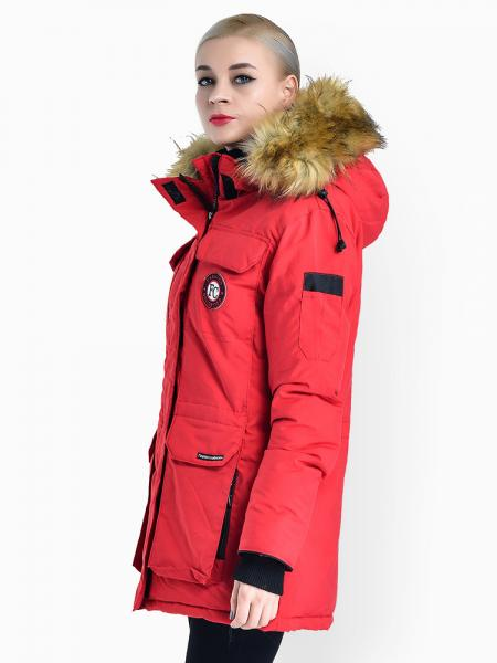 Double Zipper Faux Fur Hooded Thick Ladies Parka Coat for Winter