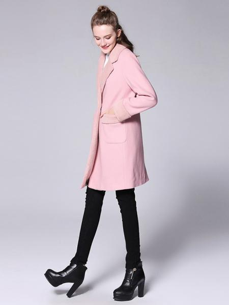 Lamb Wool Splicing Long Sleeves Thick Women Double Breasted Pea Coat