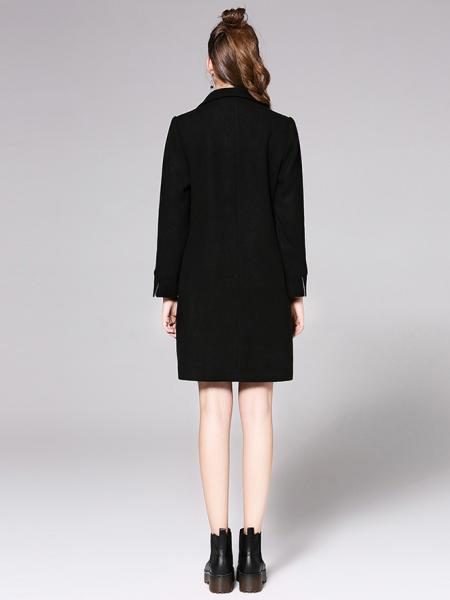Lined Long Sleeves Single Button Closure Long Wool Coat for Women