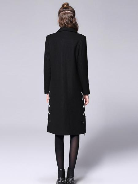 Single Breasted Long Sleeves Lined Thick Warm Long Wool Coat for Women