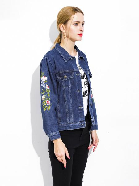 Single Breasted Unique Floral & Letter Embroidery Denim Jacket for Women