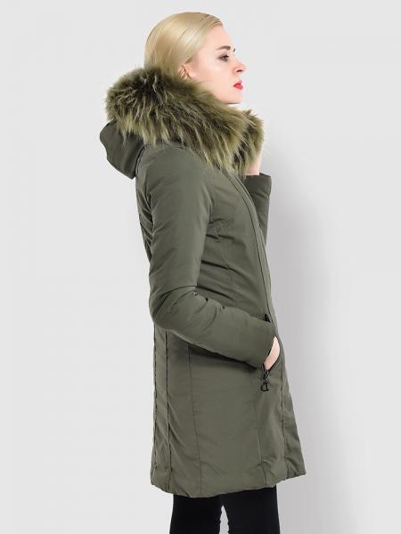 Slim Fit Faux Fur Hooded Zipper & Buttons Thick Ladies Winter Parkas