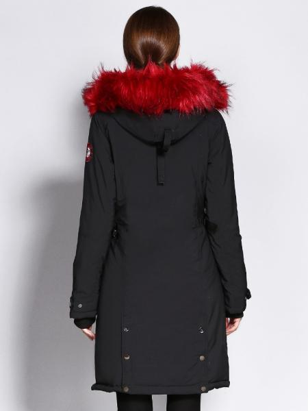 Slim Fit Long Winter Thick Parka Coat with Faux Fur Hood for Women