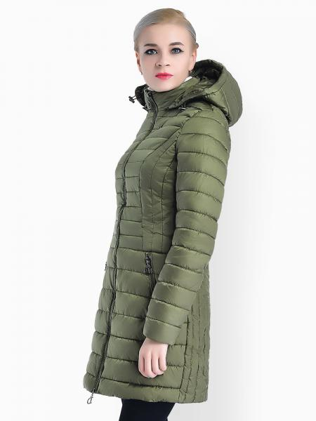 Slim Fit Two-way Zipper Women Parkas Outerwear with Detachable Hood