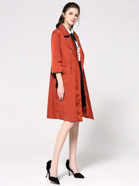 Spring Three-quarter Sleeves Zipper Closure Long Womens Trench Coat