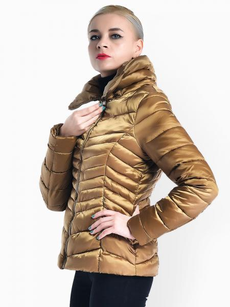 Stand Collar Zipper Closure Padded Petit Slim Lightweight Parka Women
