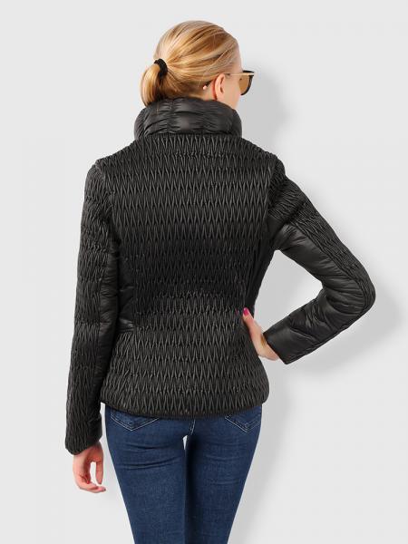 Stylish Zipper Long Sleeves Pleated Design Short Parka Jacket for Women