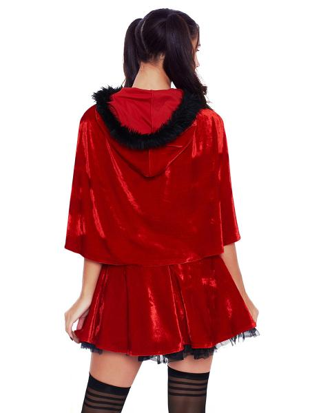 Two Pieces Fluffy Strapless Mini Dress and Hooded Cape Christmas Costume