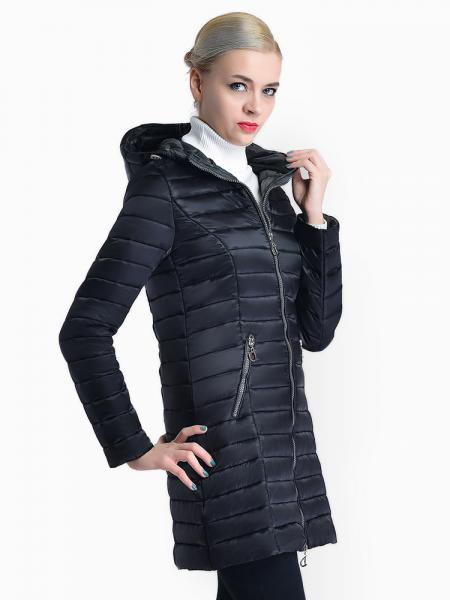 Two Way Zipper Long Sleeves Padded Women Warm Parka Coat with Hood