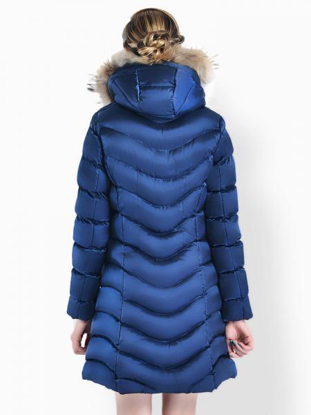 Two Way Zipper Thick Long Parka Coat with Raccoon Fur Hood for Women