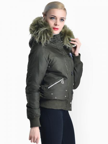 Zipper & Button Womens Thick Winter Windproof Parka with Faux Fur Hood